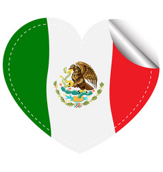 flag of mexico in heart shape vector image vector image
