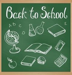 Green blackboard with chalk-drawn school objects vector image