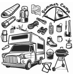 Hiking mountain climbing set and camper car vector image