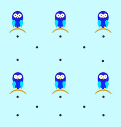 Tileable texture with blue bird and polka dots vector