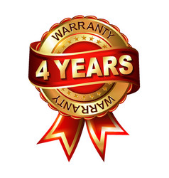 4 years warranty golden label with ribbon vector