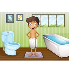 A boy inside the bathroom vector image
