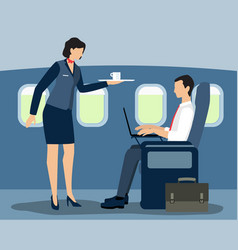 air stewardess serving first class passenger vector image