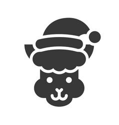 Alpaca wearing santa hat silhouette icon design vector