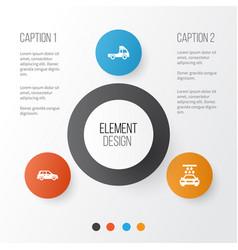 Automobile icons set collection van car vector