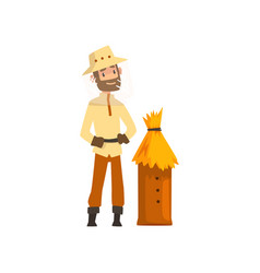 Beekeeper man and wooden beehive apiculture and vector