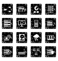 Big data set icons grunge style vector