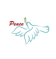 Bird of peace with green olive branch vector