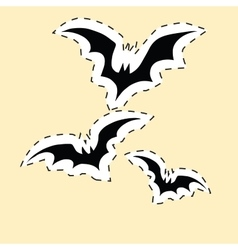 Black bats label sticker vector image