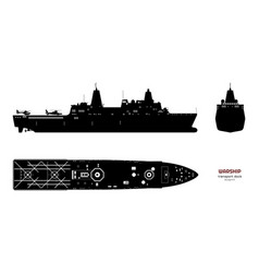 black silhouette military ship top front vector image