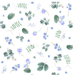 Blue flowers on white bg floral pattern vector