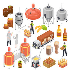 Brewery isometric set vector