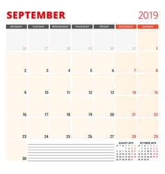 calendar planner template for september 2019 week vector image