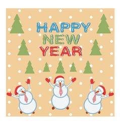 card three funny snowmen happy vector image