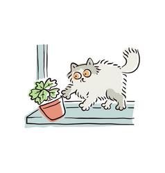 Cartoon cat pushing a flower pot off window vector