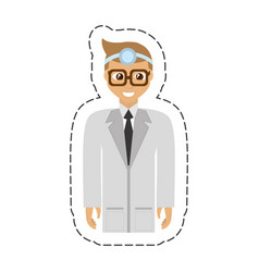 Cartoon doctor wearing head mirror with glasses vector