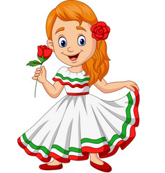 Cartoon girl dancing cinco de mayo celebration vector