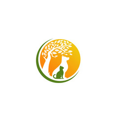 cat and dog logo design template vector image