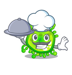 Chef with food cartoon microbes on the humans hand vector