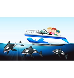 Children on boat and whale underwater vector image vector image