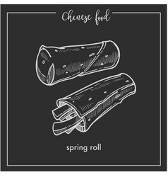 Chinese food chalk sketch spring roll for china vector
