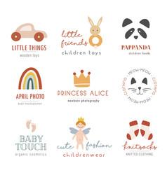collection bohemian kids logo vector image