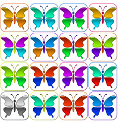 colorful butterflies icons set vector image