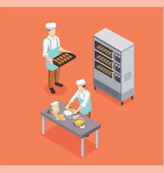 Confectionery chef isometric composition vector