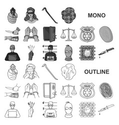 Crime and punishment monochrom icons in set vector