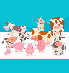 Cute comic farm animal characters group vector