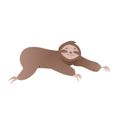cute lazy sloth crawling forward - funny jungle vector image