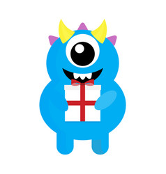 Cute monster cyclops with gift vector