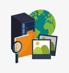 Data center server folder picture search virtual vector