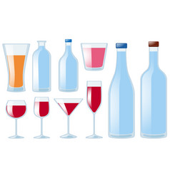 different types of glasses and bottles vector image