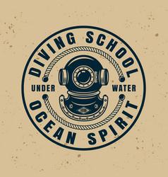Diving school round badge emblem or logo vector