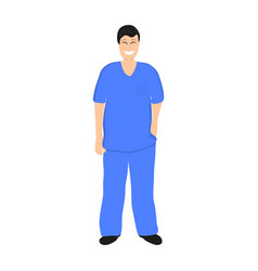 Doctor man in hospital flat design vector
