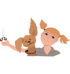 Dog groomer girl vector