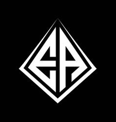 Ea logo letters monogram with prisma shape design vector