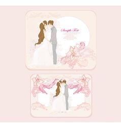 elegant wedding invitation with wedding couple set vector image