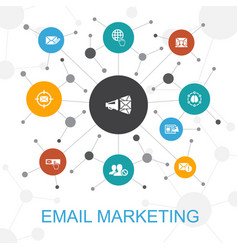Email marketing trendy web concept with icons vector