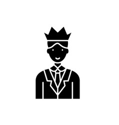 expert black icon sign on isolated vector image