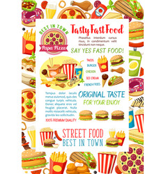 Fast food burgers meals and snacks poster vector