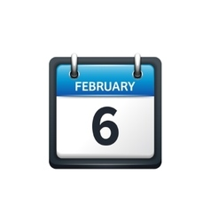 February 6 Calendar icon flat vector image