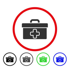 first aid toolbox rounded icon vector image vector image