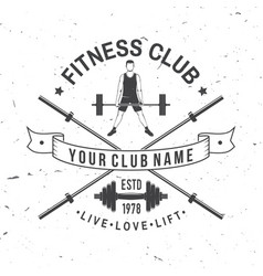 Fitness club badge for fitness centers vector