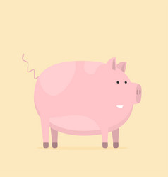 flat funny pig isolated on color background vector image
