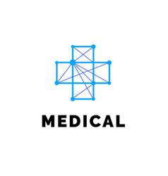 flat line medicine icon blue emblem logo vector image