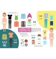 Flat male athlete character infographic concept vector