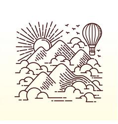 flying adventure line vector image
