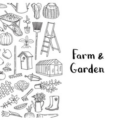 gardening doodle icons background with vector image
